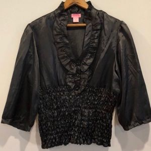 Black Ruffle Scrunched Shiny Smooth Blouse XL